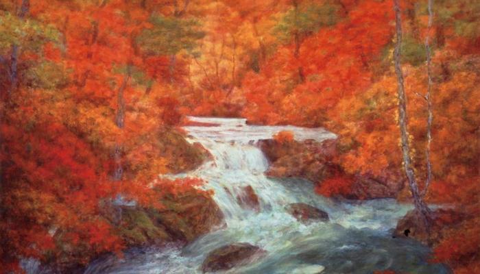 奥田元宋「彩溪淙々」 奥田元宋・小由女美術館所蔵 近現代の日本画展を中心に多彩な企画展を開催しています。 期間中は、特別展「奥田元宋・小由女展」を開催しています。印象的な赤で彩られたスケールの大きい風景画と、優美な人形作品が競演する美の世界をお楽しみください。